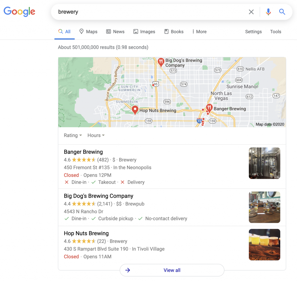Local search results when using using a desktop.