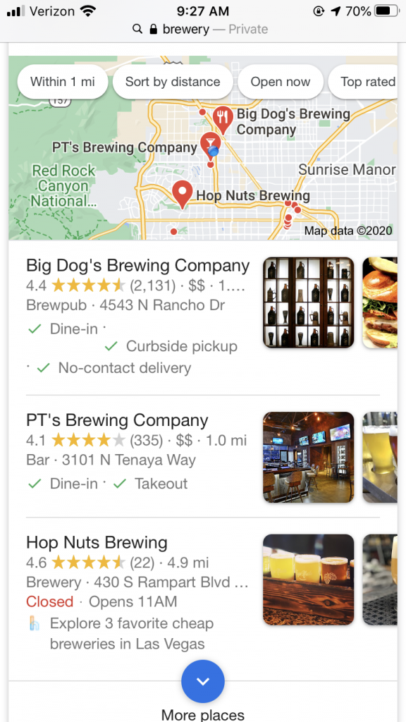 Local search results when using mobile search.
