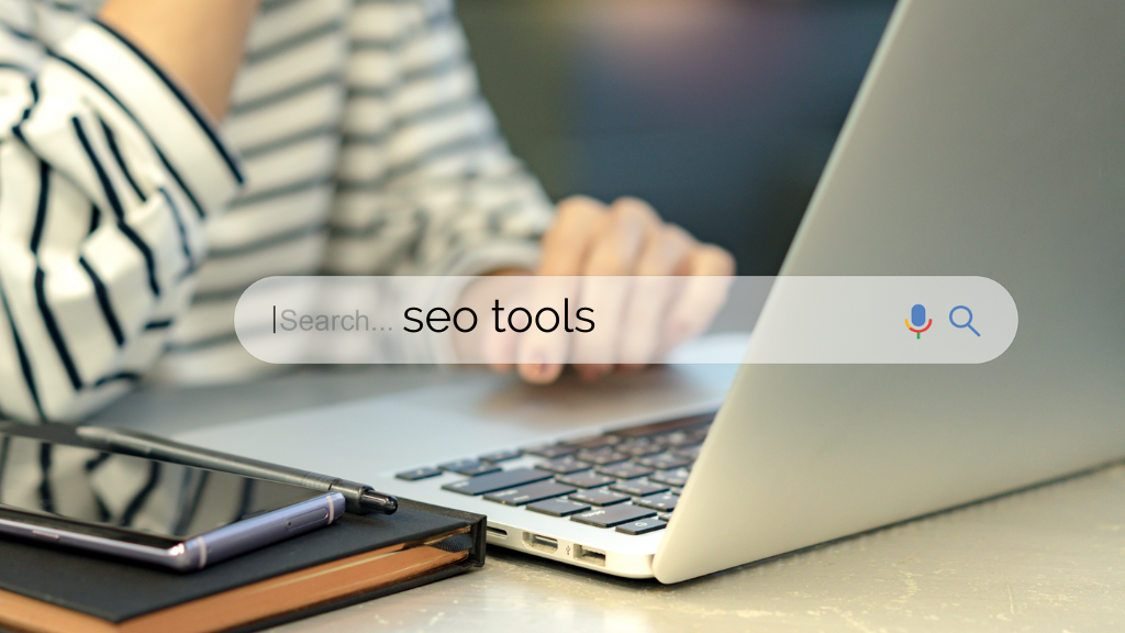 Person at laptop searching for diy seo tools.