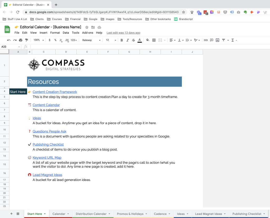 Screenshot of Compass Digital Strategies' client content marketing strategy cover page.
